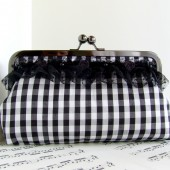 Silk black and white gingham clutch