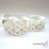 Lilith Glamorous and Sparkle Bridal Sash / Beaded Belt / Beaded Ribbon Headband with Swarovski Elements by Mauve Binchely