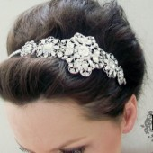 SALE Beautiful and Trendy / High End /Bridal Head Piece/ Swarovski Rhinestones Headband by Mauve Binchely