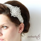 Tasha Swarovski Elements Ribbon Headband by Mauve Binchely / Hand Beaded over Ivory Lace / Bridal Hair Accessories / Weddings / Vintage look