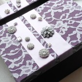 vintage lace wedding card box with rhinestones plum