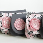 Pink and gray clutch set of 5