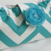 Teal chevron stripe clutfh