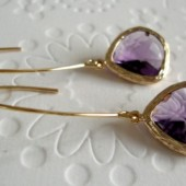 long earrings with amethyst glass