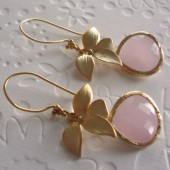 gold bezeled pink glass earrings