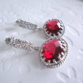 vintage ruby glass earrings