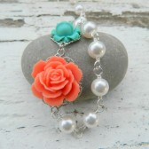 Coral and Turquoise Roses in Asymmetrical Pearl Necklace