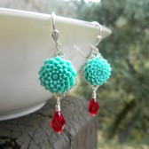 Aqua Flower and Red Crystal Teardrop Earrings