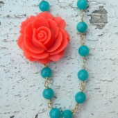 Coral Rose and Teal Jade Asymmetrical Neclace