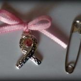 Pink Ribbon Crystal Bouquet Charm