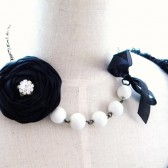 Customazible Silk rose and opaque pearls.