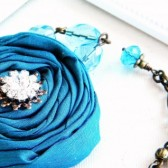 Peacock Blue Silk Necklace