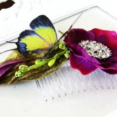 Purple Flower Rhinestone and Butterfly Fascinator