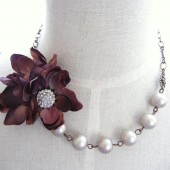 Plum Silk Flower Necklace
