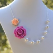 Lavender Rose and Peach Rose Asymmetrical Pearl Necklace