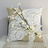 Rustic Ring Bearer Pillow with Ivory Flower Details