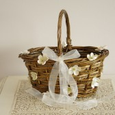 Wicker Flower Girl Basket with Ivory Flower Details