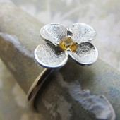 Frosted Flower and Gemstone Ring, Engraved Sterling Silver