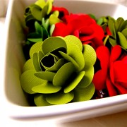 Red, Green and White Paper Rose Bouquet and/or Centerpiece