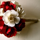 Red and White Paper Rose Bouquet