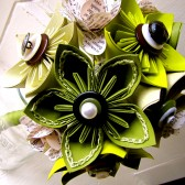 Green Kusudama and Rose Paper Flower Bouquet
