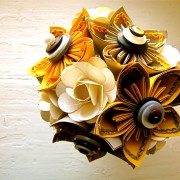 Yellow, Grey and White Kusudama and Rose Paper Flower Bouquet