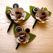 Three Green and book page rose paper flower boutonniere