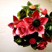 Pink and Green Kusudama and Rose Paper Flower Bouquet