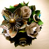 Green and Teal Kusudama Paper Flower Bouquet