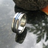 Frost titanium band with 2 thin blue lines
