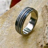 Frost domed titanium band with 4 thin blue lines