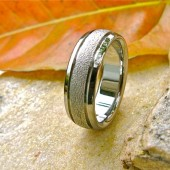 Frost domed titanium band with 2 ahannels on the sides