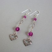 Kindle Fuchsia Swarovski Crystal and Sterling Silver Earrings