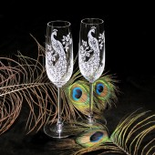 peacock wedding champagne flutes, engraved