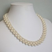 Surround Ivory Glass Pearl Woven Collar Necklace