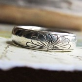 Engraved Daisy Ring, Sterling Silver Metalwork