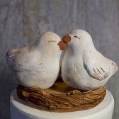 white antique love bird cake topper