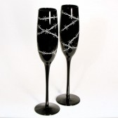Western Wedding Champagne Flutes, Black Glass