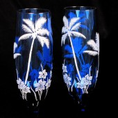Tropical Wedding Champagne Flutes, Cobalt Blue, Beach Wedding