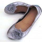 gray chiffon  flower shoe clips