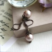 A Champagne Swarovski Glass Pearls Vintage Style Earrings