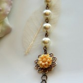 A Cream Flower with Swarovski Cream Glass Pearls Bracelet. Adjustable Bracelet,