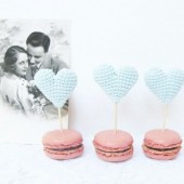 Mint Crocheted Hearts Cup Cake Toppers
