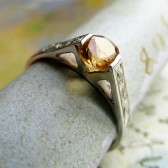 Engraved Citrine Ring, Sterling Silver