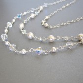 pearl crystal double strand necklace