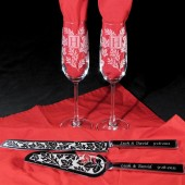 Autumn Wedding Set, Champagne Flutes, Cake Server Set, Engraved, Oak and Maple leaves