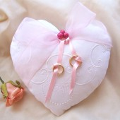 Heart shaped Ring bearer pillow - romantic pink white embroidered