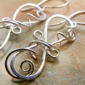 Winding Vine Earrings, Sterling Silver Sculpted Metalwork Dangles