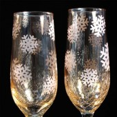 Winter Wedding Champagne Flutes, Gold Crackle Glass, Snowflakes