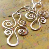 Bridal Filigree Earrings, Sterling Silver Sculpted Metalwork
